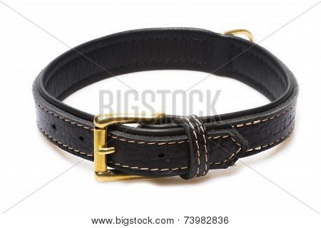 Black Leather Collar Isolated Over White Background