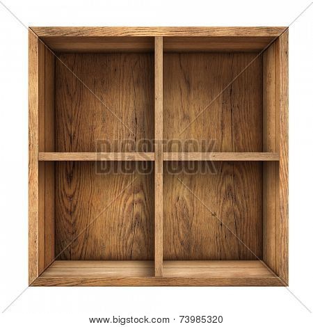 old wood box or drawer top view isolated on white