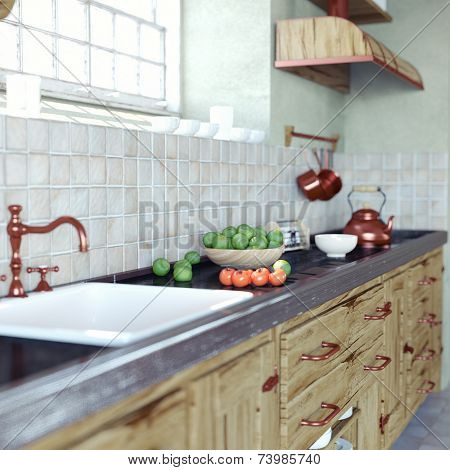 close-up vintage kitchen interior (DOF essect. 3d concept)
