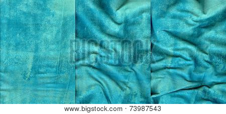 Set Of Turquoise Suede Leather Textures