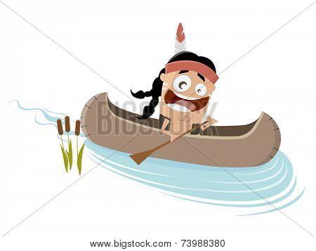 funny cartoon indian in a canoe