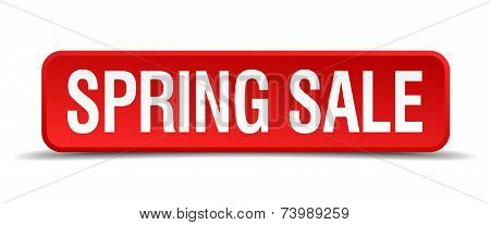 Spring Sale Red 3D Square Button Isolated On White