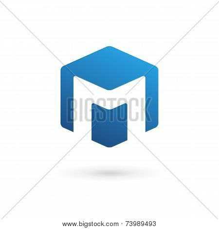 Letter M Cube Logo Icon Design Template Elements