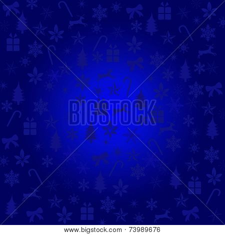 Christmas Blue Background With Blue Icons