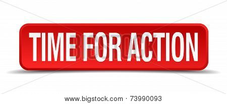 Time For Action Red Vector Square Button Isolated On White