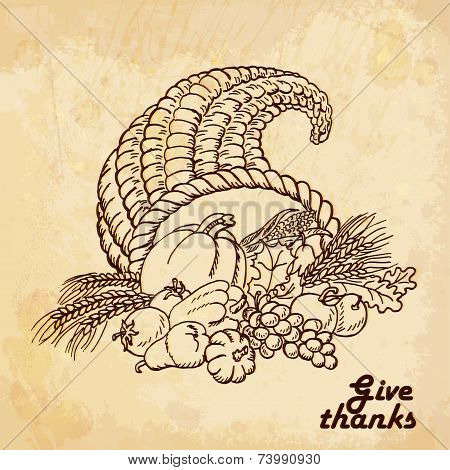 Vintage Old Background With Cornucopia. Hand Drawing. Vector Illustrations