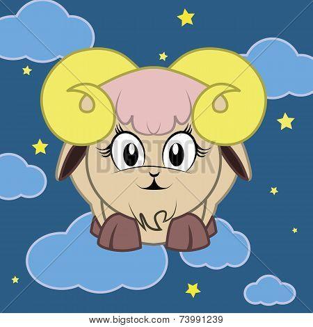 Zodiac Sign Goat  Cartoon Character