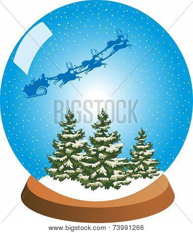 Snow Globe with Santa's Sleigh High Over Snowy Trees