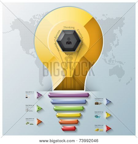 Light Bulb Three Dimension Polygon And Triangle Hexagon Business Infographic