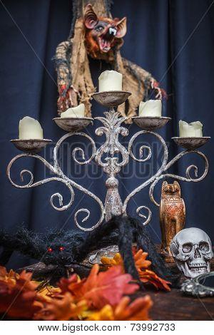 Spider, Autumn Oak Leaves, Chandelier, Totem Skull And Vampire