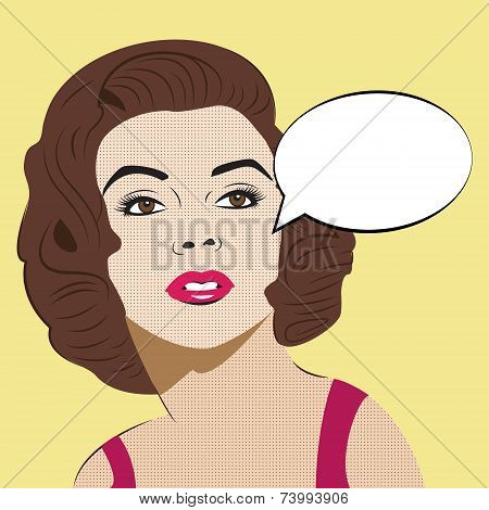 Pop Art Woman with Comic Speech Bubble