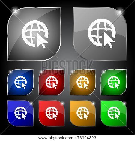 Internet sign icon. World wide web symbol. Cursor pointer. Set colour buttons Vector