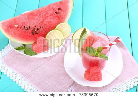 Watermelon cocktail on table, close-up