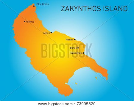 Island of Zakynthos in Greece map