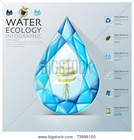 Water Drop Three Dimension Polygon Ecology And Environment Infographic
