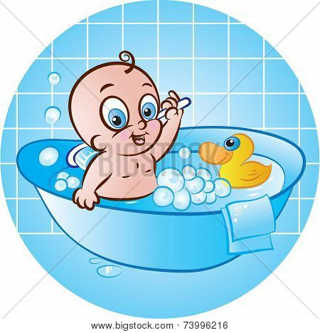 Happy Baby Boy In Bath Tub