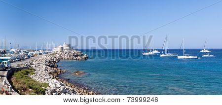 Beautiful small harbour Rhodos island, Greece