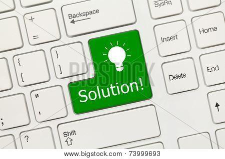 White Conceptual Keyboard - Solution (green Key)