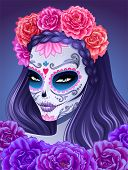 image of day dead skull  - Day of dead sugar skull woman - JPG