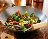 picture of chinese wok  - chinese stir fry in metal wok - JPG