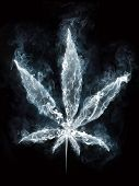 picture of marijuana  - Marijuana in Smoke on Black Background - JPG