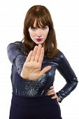 stock photo of snob  - stylish woman refusing or saying no with hand gesture - JPG