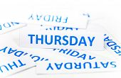 pic of thursday  - Thursday word paper in the white background on the week - JPG