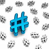 foto of hashtag  - Blue Metallic Hashtag on White Background 3D Illustration - JPG