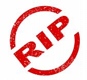 picture of rest-in-peace  - A RIP rest in peace red ink stamp over a white background - JPG