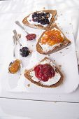 picture of whole-wheat  - Italian breakfast made with whole wheat bread butter and jam - JPG