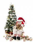 picture of rag-doll  - A rag doll rocking her toy bear in her Santa hat - JPG