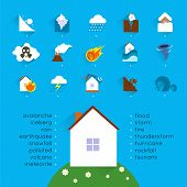 picture of landslide  - Natural disaster accident concept with danger icons set and house vector illustration - JPG