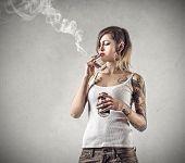 stock photo of teen smoking  - Smoking and drinking  - JPG