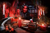 stock photo of hade  - Horned Devil in his home - JPG