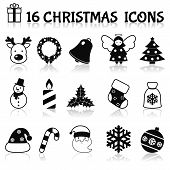 foto of christmas bells  - Christmas holiday decoration black icons set with deer wreath bell angel isolated vector illustration - JPG