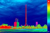 pic of chimney  - Infrared thermography image showing the heat emission at the Chimney of energy station - JPG