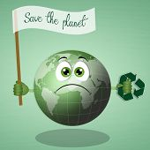 picture of salvation  - illustration of sad earth for the salvation of the planet - JPG