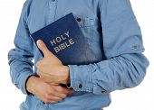 pic of bible verses  - Man holding Bible isolated on white - JPG