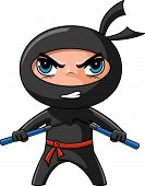 stock photo of chibi  - Cute furious ninja with nunchaku ready to attack - JPG