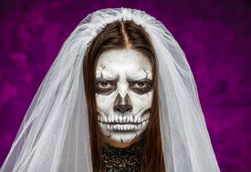 stock photo of day dead skull  - Young woman a bride in a veil on the day of the dead mask skull face art - JPG