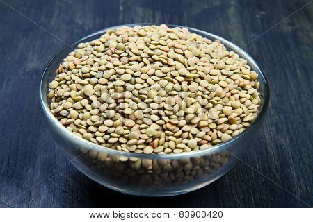 Lentils On Glass Bowl