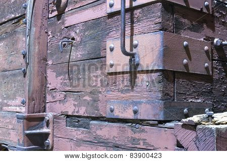 Wooden Boxcar On Railroad Car