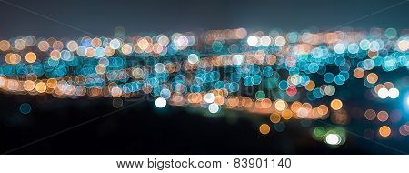 Panorama Bokeh Of City At Night