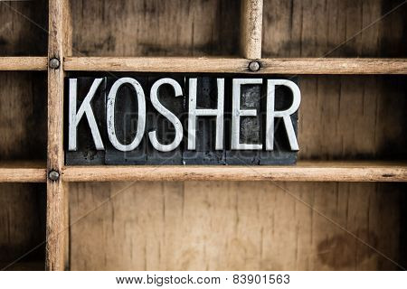 Kosher Concept Metal Letterpress Word In Drawer