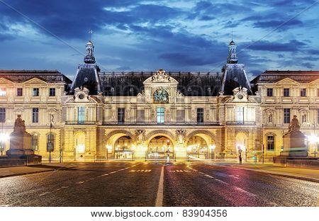 Louvre At Night, Gate, Paris