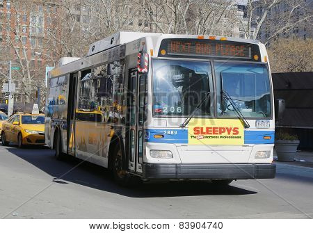 New York City MTA bus in Manhattan