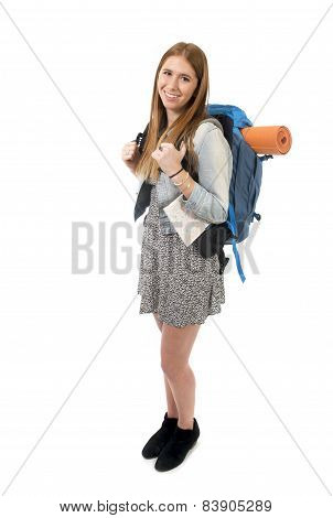 Young Attractive Tourist Woman Smiling Happy Carrying Backpack And City Map On Holidays Tourism Conc