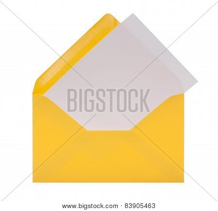 Envelope with white notepaper including clipping path