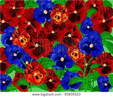 Pansies Floral Background Vector