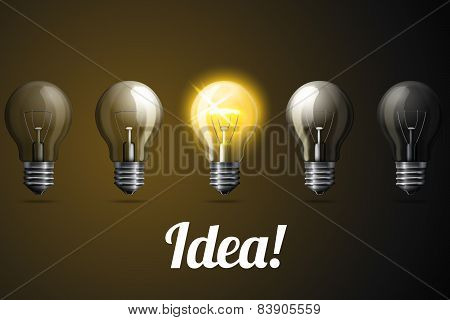 Row of vector realistic light bulbs, with one bright glowing.